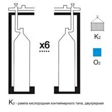Газовая рампа кислородная РКР- 6к2 (6 бал.,двухряд.,редук.БКО 50-4 контейнерн.)