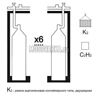 Газовая рампа ацетиленовая РАР- 6к2 (6 бал.,двухряд.,редук.РАО 30-1 контейнерн.)