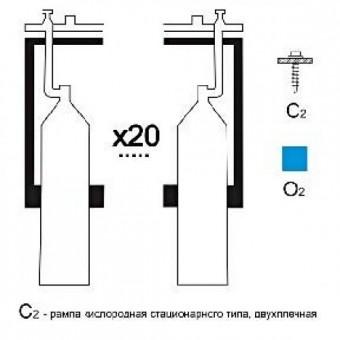 Газовая рампа кислородная РКР-20с2 (20 бал.,двухплеч.,редук.РКЗ-500 стационарн.)