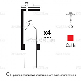 Газовая рампа пропановая РПР- 4с1 (4 бал.,одноплеч.,редук.РПО 25-1 стационарн.)