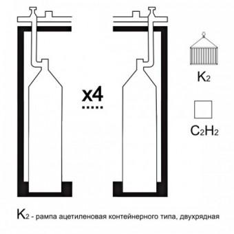 Газовая рампа ацетиленовая РАР- 4к2 (4 бал.,двухряд.,редук.РАО 30-1 контейнерн.)