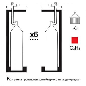 Газовая рампа пропановая РПР- 6к2 (6 бал.,двухряд.,редук.РПО-25-1 контейнерн.)