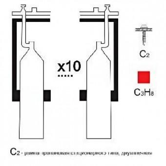 Газовая рампа пропановая РПР-10с2 (10 бал.,двухплеч.,редук.РПО 25-1 стационарн.)