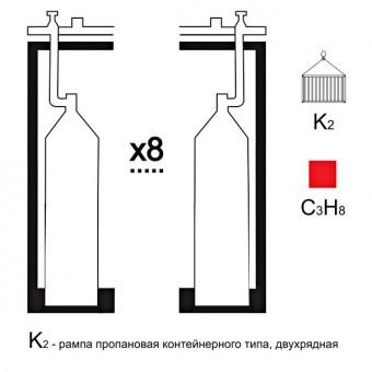 Газовая рампа пропановая РПР- 8к2 (8 бал.,двухряд.,редук.РПО-25-1 контейнерн.)