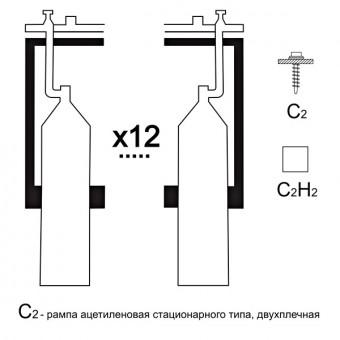 Газовая рампа ацетиленовая РАР-12с2 (12 бал.,двухплеч.,редук.РАО 30-1 стационарн.)