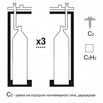 Газовая рампа кислородная РКР- 3с1 (3 бал.,одноплеч.,редук.БКО 50-4 стационарн.)